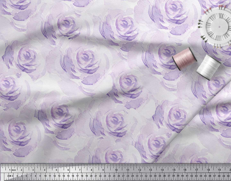 Soimoi-Purple-Cotton-Poplin-Fabric-Rose-Floral-Print-Fabric-by-Yard-q24 thumbnail 4