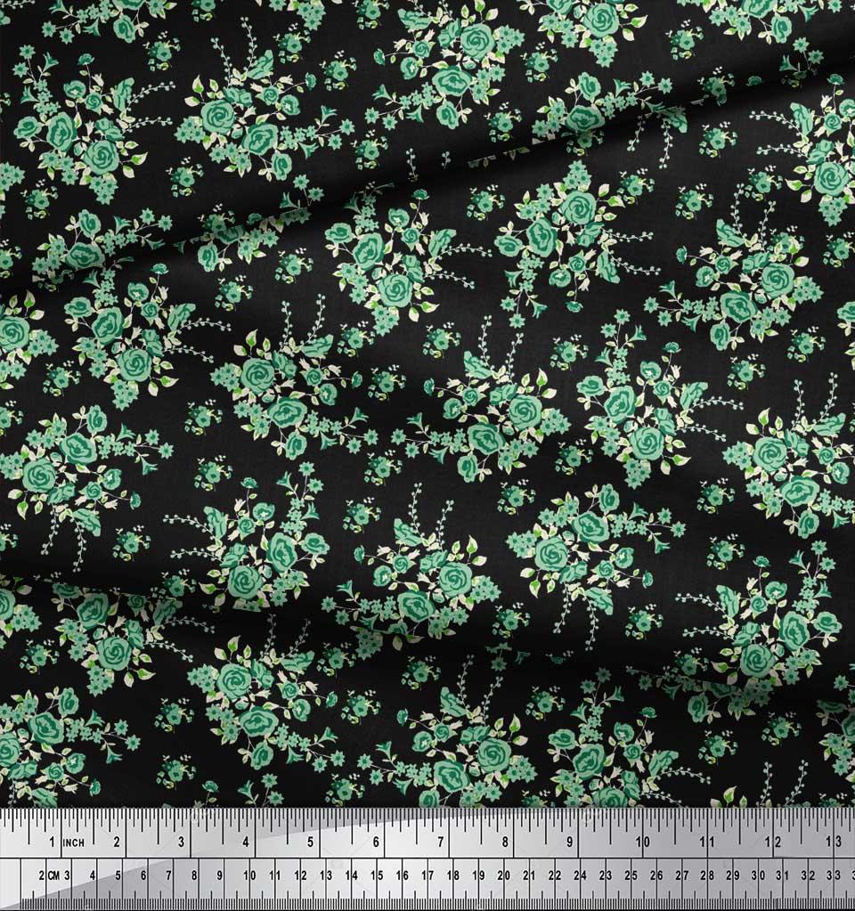 Soimoi-Black-Cotton-Poplin-Fabric-Leaves-amp-Rose-Floral-Print-Fabric-YTl thumbnail 3