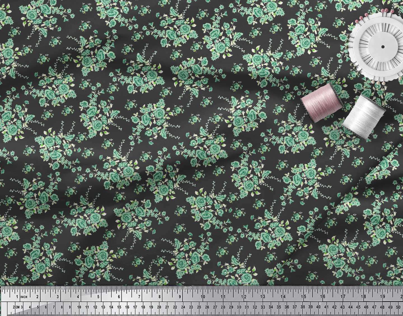 Soimoi-Black-Cotton-Poplin-Fabric-Leaves-amp-Rose-Floral-Print-Fabric-YTl thumbnail 4
