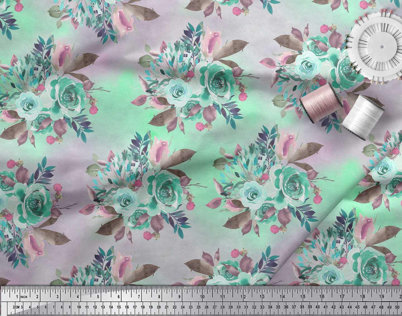 Soimoi-Green-Cotton-Poplin-Fabric-Leaves-amp-Alba-Rose-Floral-Fabric-sDF thumbnail 3