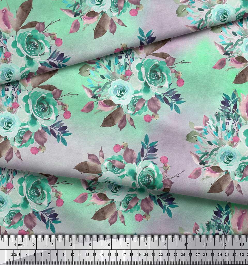 Soimoi-Green-Cotton-Poplin-Fabric-Leaves-amp-Alba-Rose-Floral-Fabric-sDF thumbnail 4