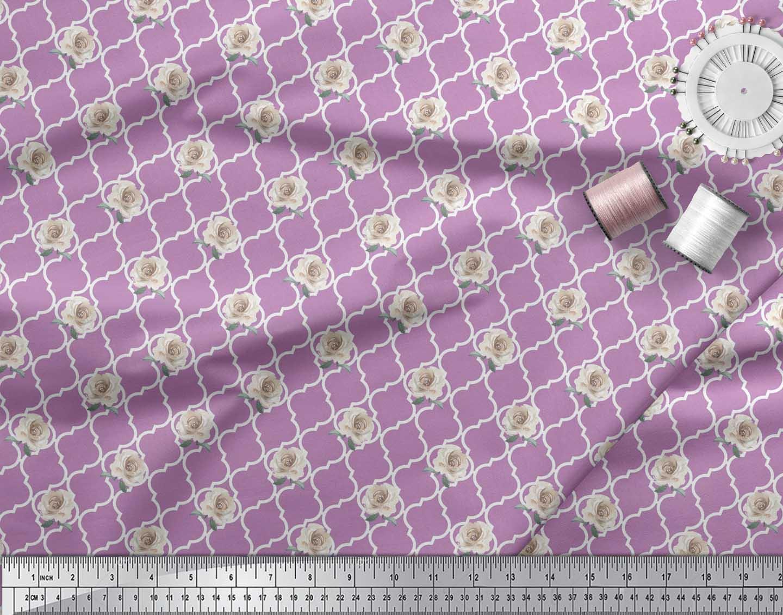 Soimoi-Purple-Cotton-Poplin-Fabric-Quatrefoil-amp-Grandiflora-Rose-MFQ thumbnail 3