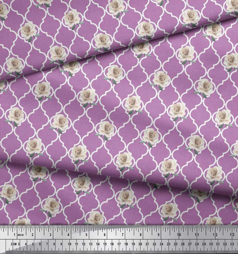 Soimoi-Purple-Cotton-Poplin-Fabric-Quatrefoil-amp-Grandiflora-Rose-MFQ thumbnail 4