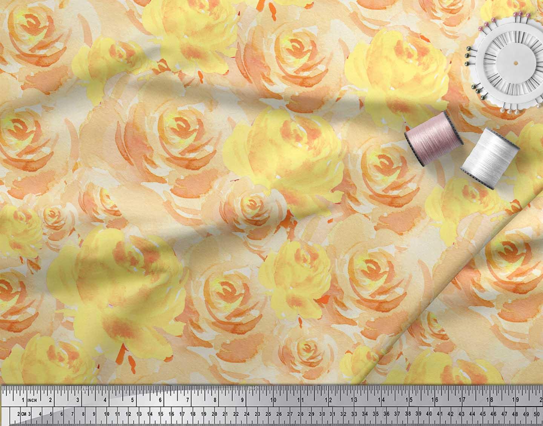 Soimoi-Yellow-Cotton-Poplin-Fabric-Grandiflora-Roses-Floral-Print-C9v thumbnail 3