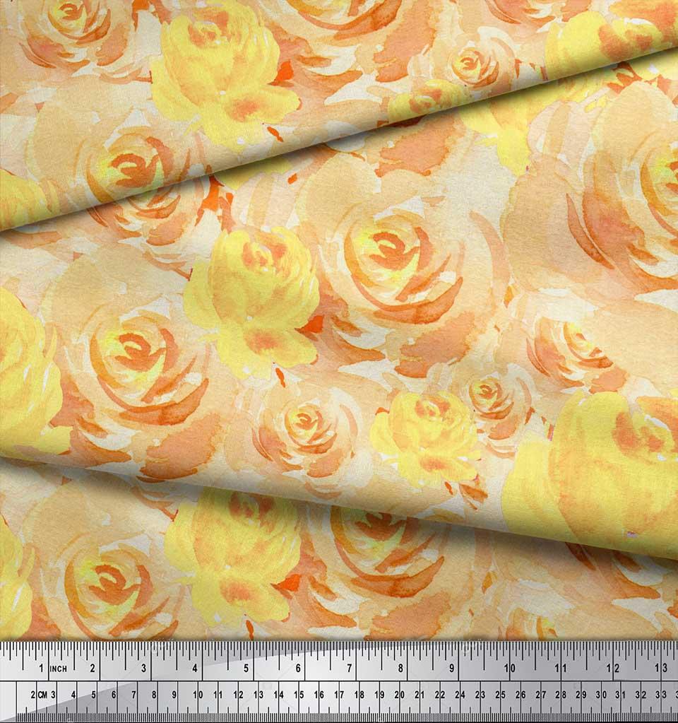 Soimoi-Yellow-Cotton-Poplin-Fabric-Grandiflora-Roses-Floral-Print-C9v thumbnail 4