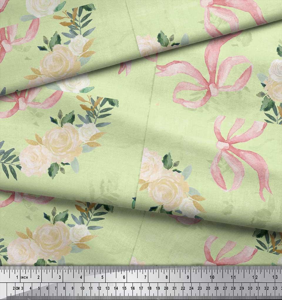 Soimoi-Green-Cotton-Poplin-Fabric-Ribbon-amp-White-Rose-Wreath-Floral-Ns0 thumbnail 3