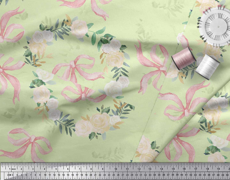 Soimoi-Green-Cotton-Poplin-Fabric-Ribbon-amp-White-Rose-Wreath-Floral-Ns0 thumbnail 4
