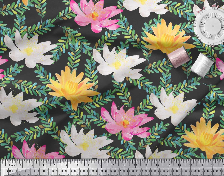 Soimoi-Black-Cotton-Poplin-Fabric-Leaves-amp-Water-Lily-Floral-Print-Evs thumbnail 3