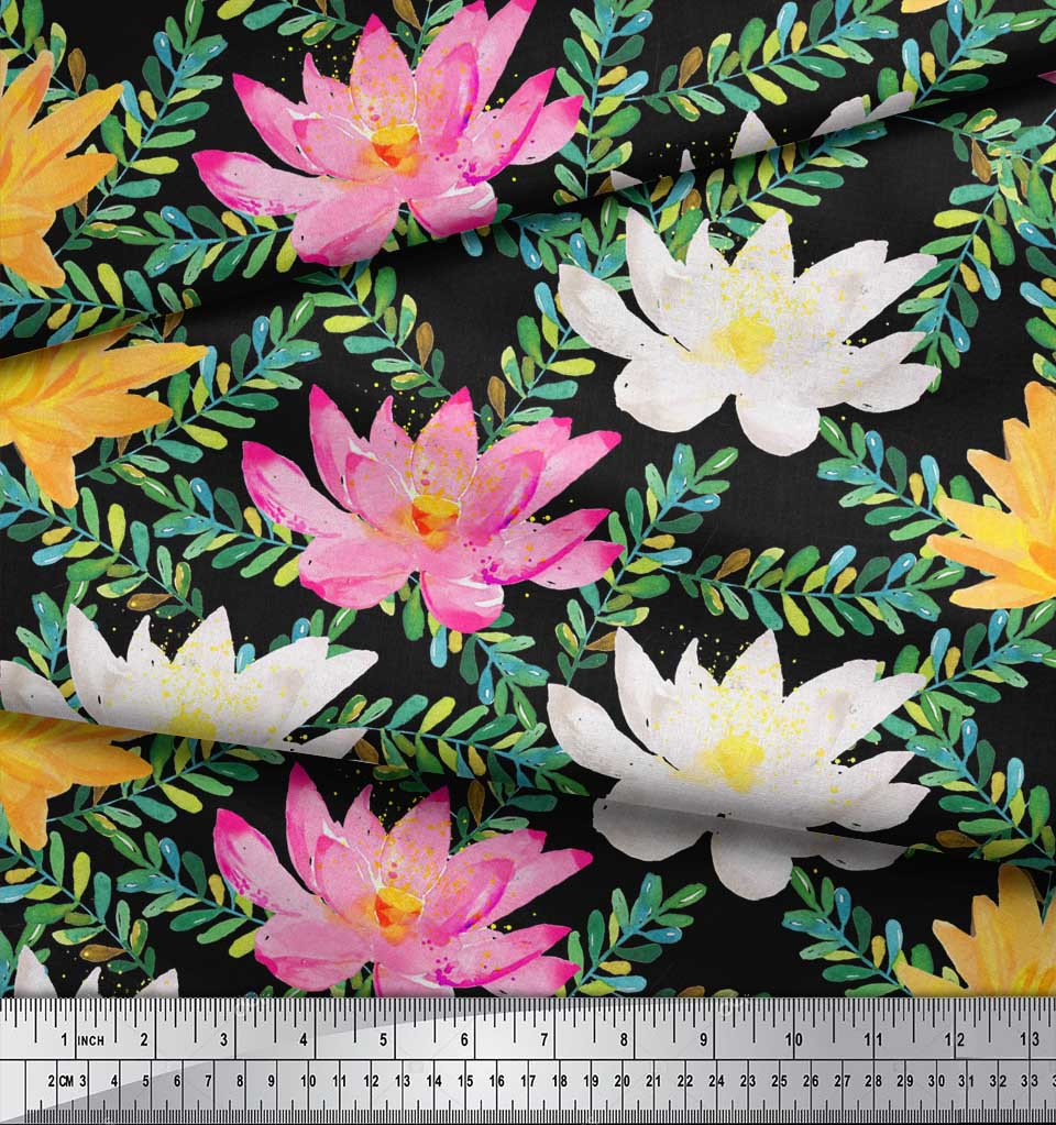 Soimoi-Black-Cotton-Poplin-Fabric-Leaves-amp-Water-Lily-Floral-Print-Evs thumbnail 4