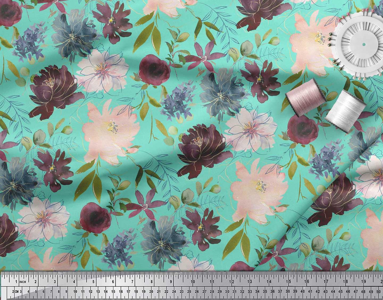 Soimoi-Green-Cotton-Poplin-Fabric-Leaves-amp-Peony-Floral-Print-Printed-Abt thumbnail 3