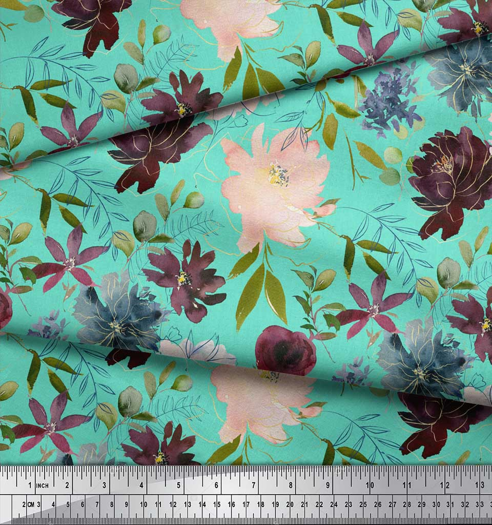 Soimoi-Green-Cotton-Poplin-Fabric-Leaves-amp-Peony-Floral-Print-Printed-Abt thumbnail 4