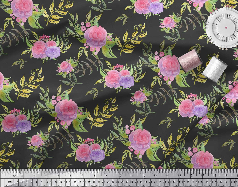 Soimoi-Black-Cotton-Poplin-Fabric-Leaves-amp-Rose-Floral-Fabric-Prints-nBC thumbnail 3