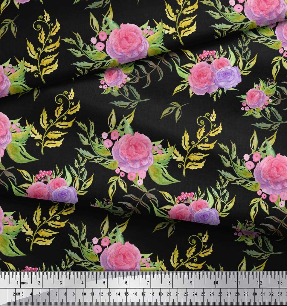 Soimoi-Black-Cotton-Poplin-Fabric-Leaves-amp-Rose-Floral-Fabric-Prints-nBC thumbnail 4