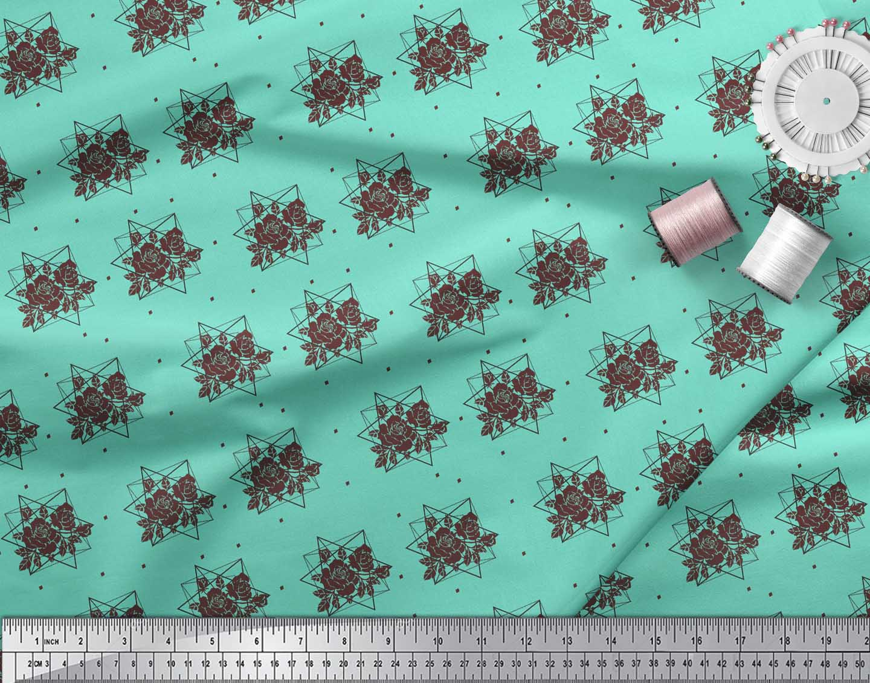 Soimoi-Green-Cotton-Poplin-Fabric-Geometric-amp-Rose-Floral-Print-LlN thumbnail 3