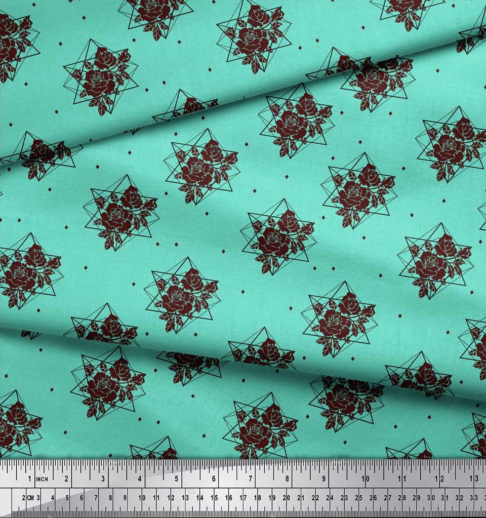 Soimoi-Green-Cotton-Poplin-Fabric-Geometric-amp-Rose-Floral-Print-LlN thumbnail 4