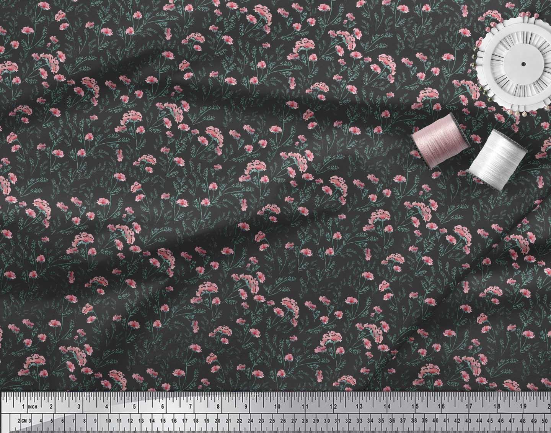 Soimoi-Black-Cotton-Poplin-Fabric-Cheddar-Carnation-Floral-Fabric-6KC thumbnail 3