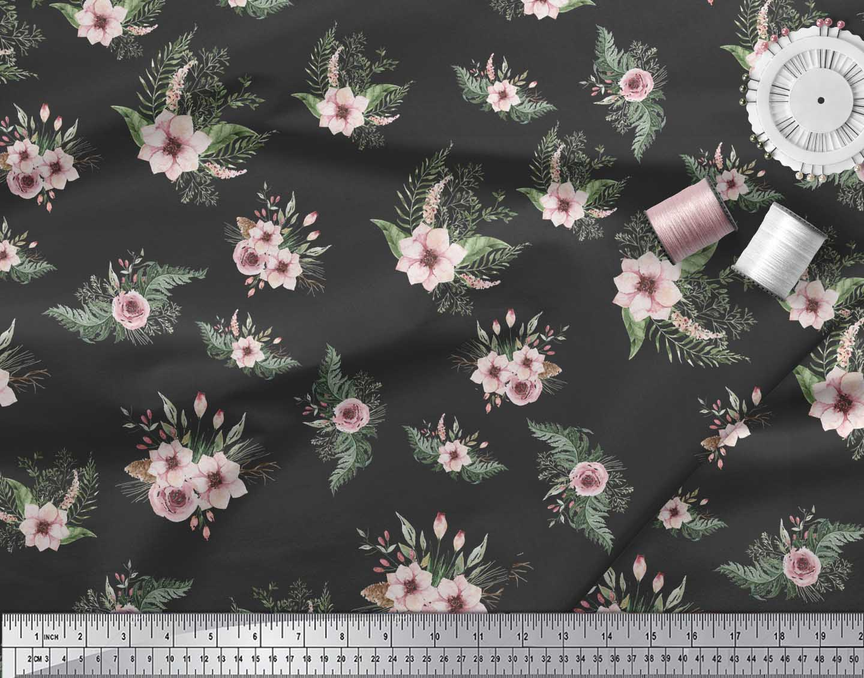 Soimoi-Black-Cotton-Poplin-Fabric-Mignon-Dahlia-amp-Rose-Floral-Decor-tAV thumbnail 3
