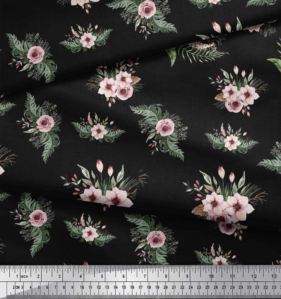 Soimoi-Black-Cotton-Poplin-Fabric-Mignon-Dahlia-amp-Rose-Floral-Decor-tAV thumbnail 4