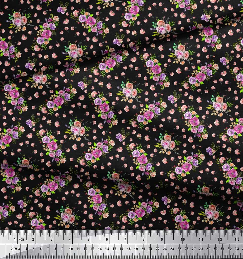 Soimoi-Black-Cotton-Poplin-Fabric-Rose-amp-Floral-Fabric-Prints-By-gJK thumbnail 3