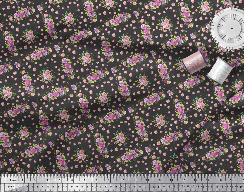 Soimoi-Black-Cotton-Poplin-Fabric-Rose-amp-Floral-Fabric-Prints-By-gJK thumbnail 4