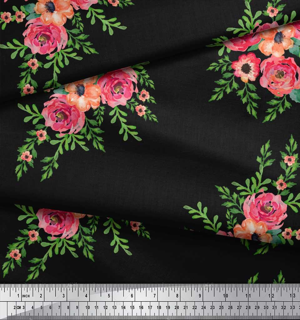 Soimoi-Black-Cotton-Poplin-Fabric-Flower-Floral-Decor-Fabric-Printed-Bli thumbnail 3