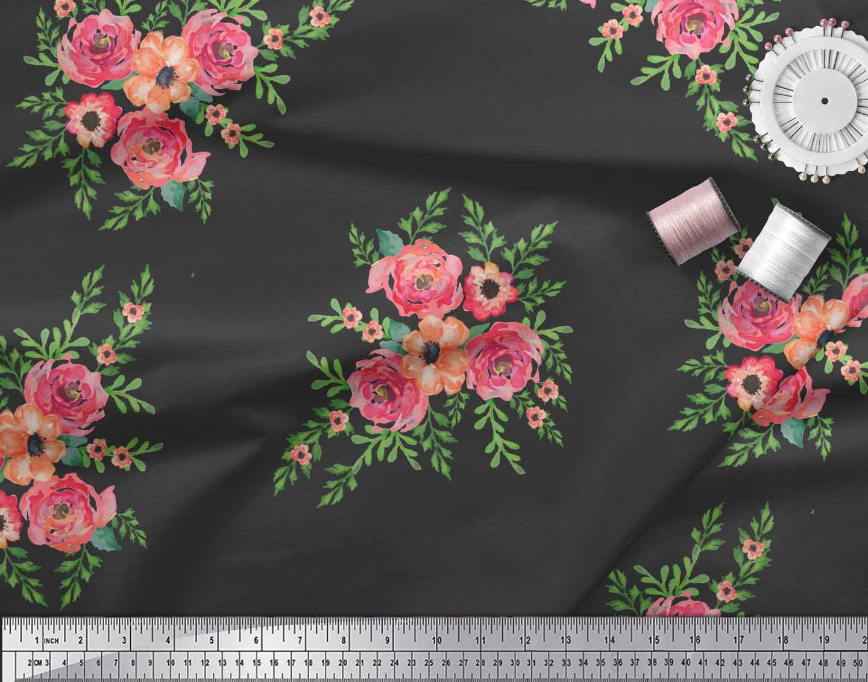 Soimoi-Black-Cotton-Poplin-Fabric-Flower-Floral-Decor-Fabric-Printed-Bli thumbnail 4