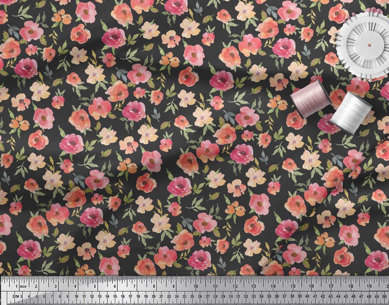 Soimoi-Black-Cotton-Poplin-Fabric-Leaves-amp-Blooming-Camellias-Floral-9ek thumbnail 3