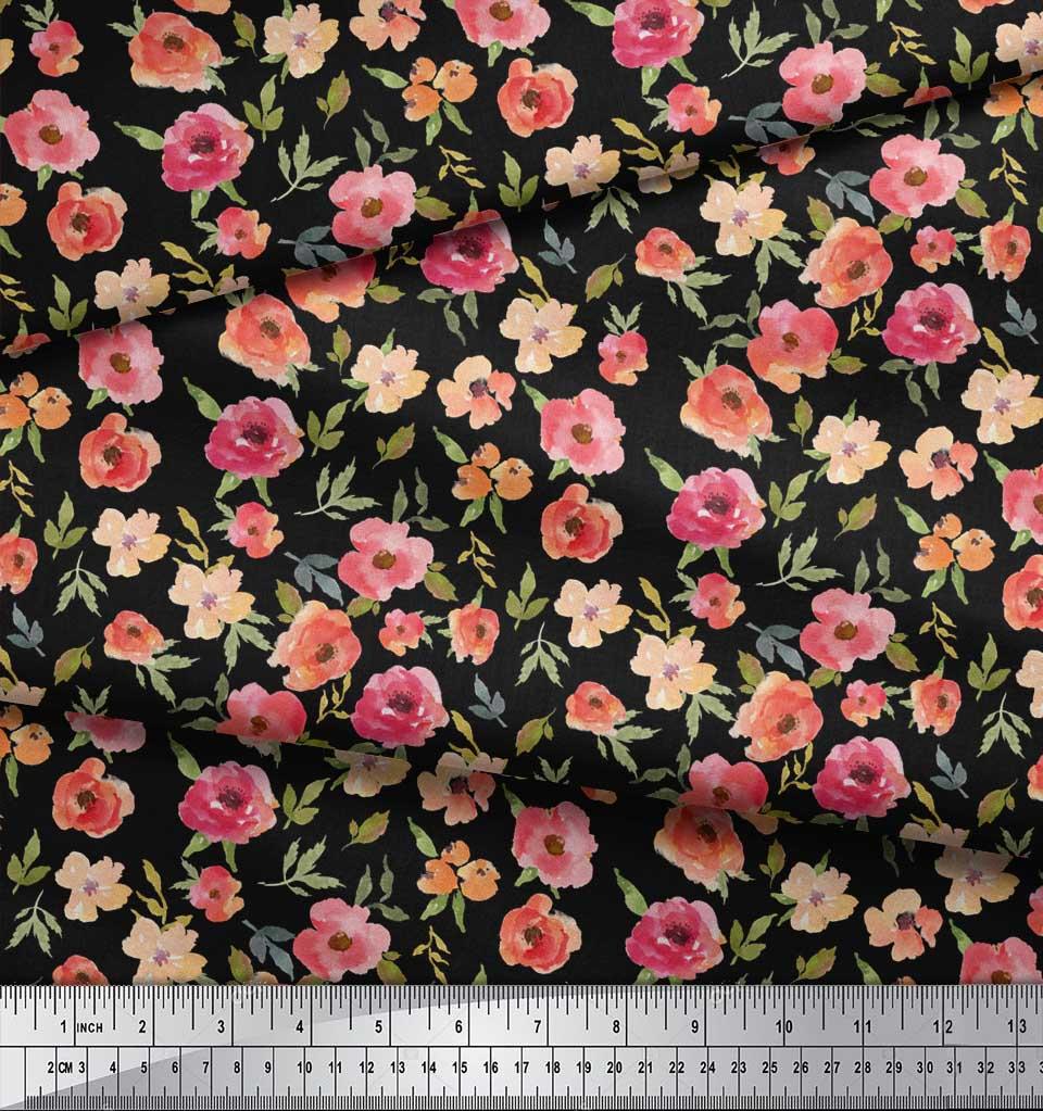 Soimoi-Black-Cotton-Poplin-Fabric-Leaves-amp-Blooming-Camellias-Floral-9ek thumbnail 4