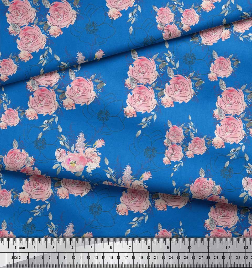 Soimoi-Blue-Cotton-Poplin-Fabric-Leaves-amp-Rose-Floral-Print-Sewing-8ZW thumbnail 3