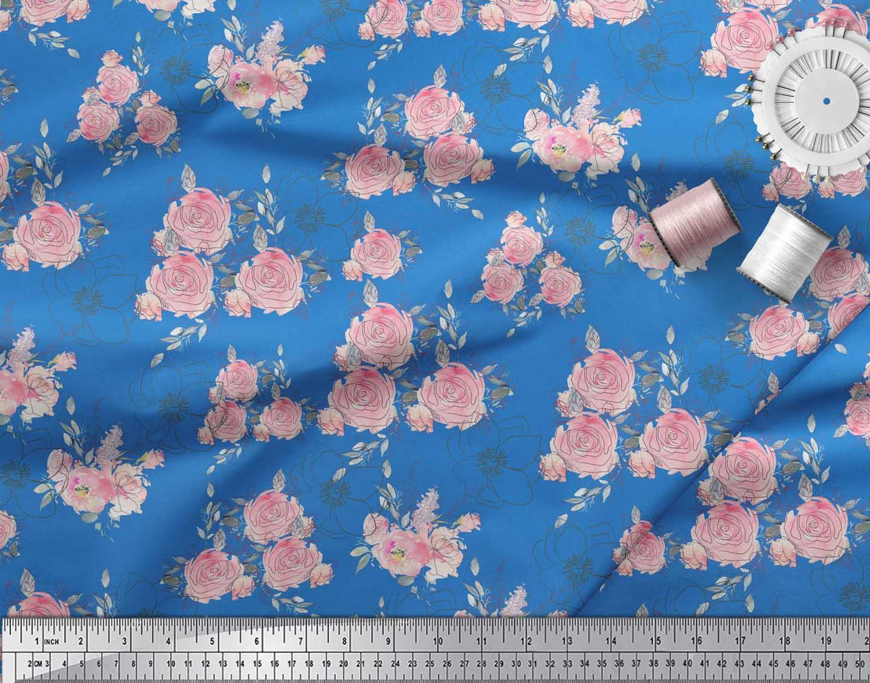 Soimoi-Blue-Cotton-Poplin-Fabric-Leaves-amp-Rose-Floral-Print-Sewing-8ZW thumbnail 4