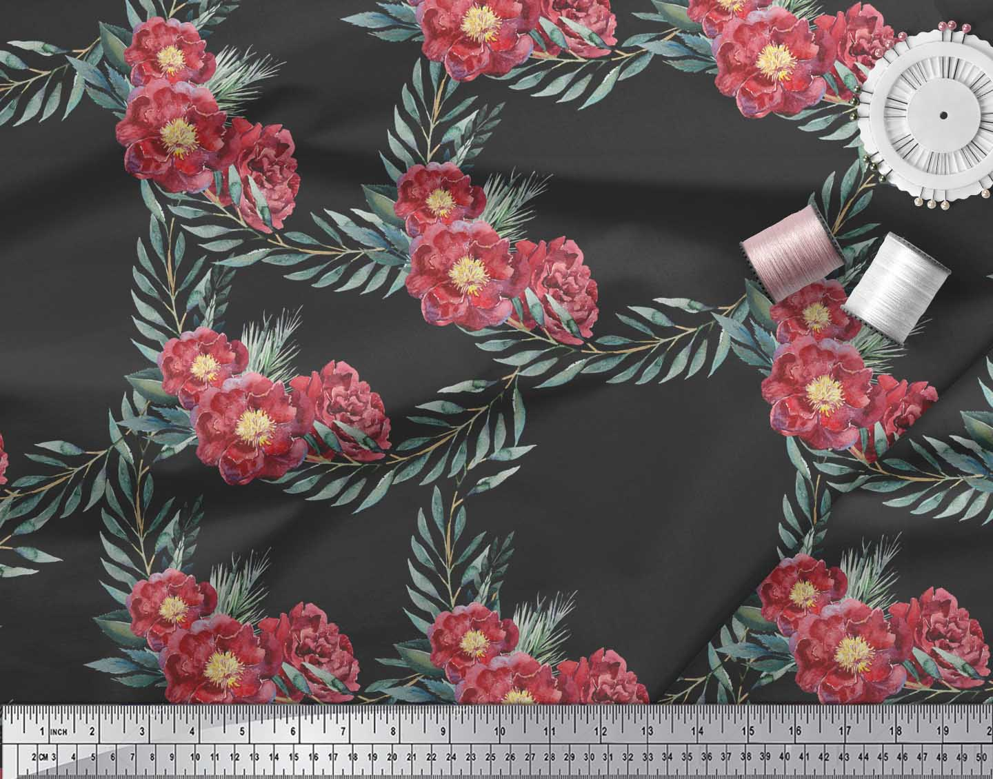 Soimoi-Black-Cotton-Poplin-Fabric-Leaves-amp-Peony-Floral-Fabric-Prints-JE7 thumbnail 3