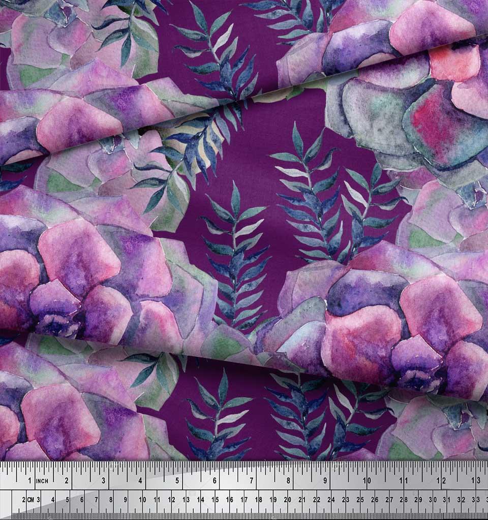 Soimoi-Purple-Cotton-Poplin-Fabric-Leaves-amp-Begonia-Floral-Print-69d thumbnail 3