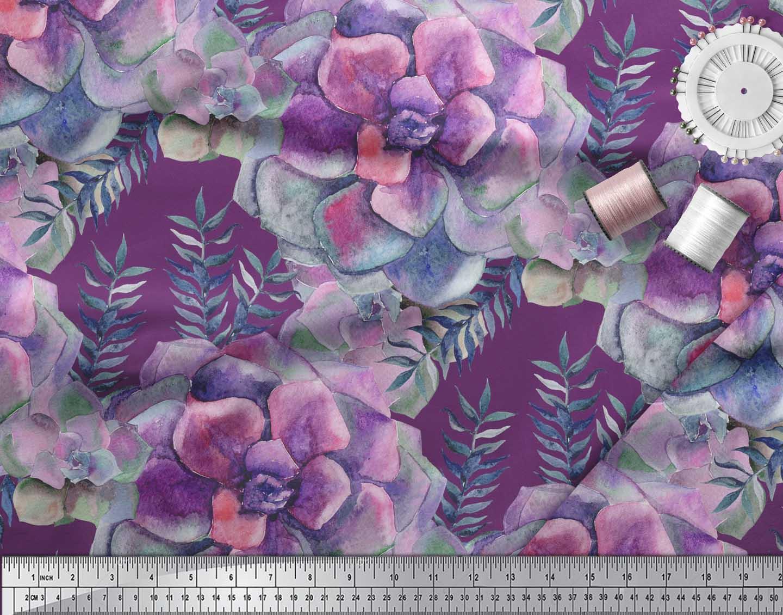 Soimoi-Purple-Cotton-Poplin-Fabric-Leaves-amp-Begonia-Floral-Print-69d thumbnail 4