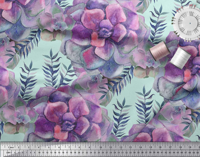 Soimoi-Green-Cotton-Poplin-Fabric-Leaves-amp-Begonia-Floral-Print-jwD thumbnail 4