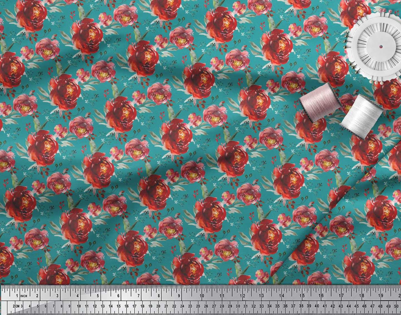 Soimoi-Green-Cotton-Poplin-Fabric-Leaves-amp-Peony-Floral-Print-Fabric-ntK thumbnail 3