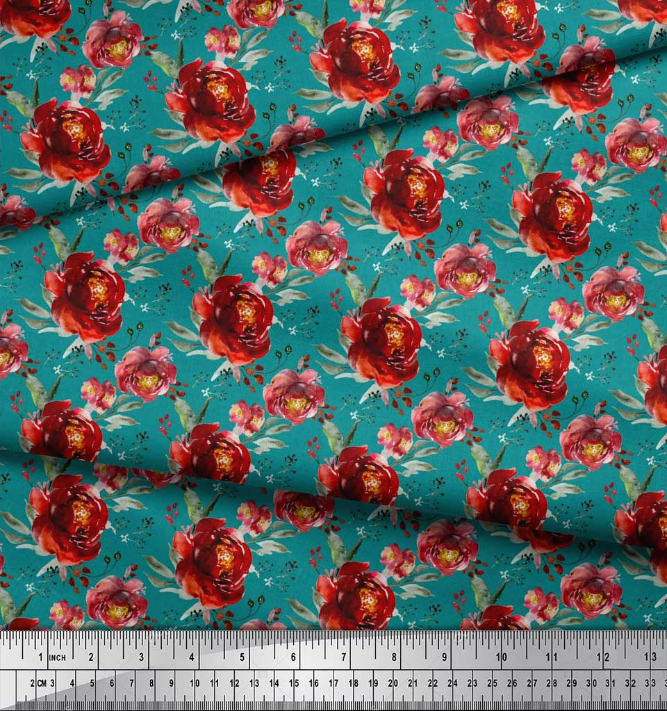 Soimoi-Green-Cotton-Poplin-Fabric-Leaves-amp-Peony-Floral-Print-Fabric-ntK thumbnail 4