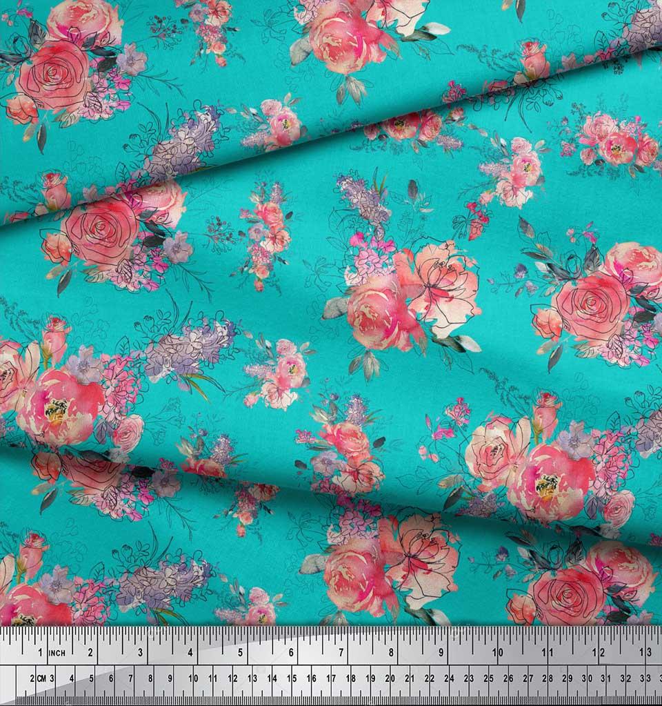 Soimoi-Green-Cotton-Poplin-Fabric-Ranunculus-amp-Roses-Floral-Print-2iZ thumbnail 3