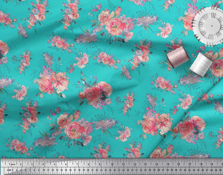 Soimoi-Green-Cotton-Poplin-Fabric-Ranunculus-amp-Roses-Floral-Print-2iZ thumbnail 4