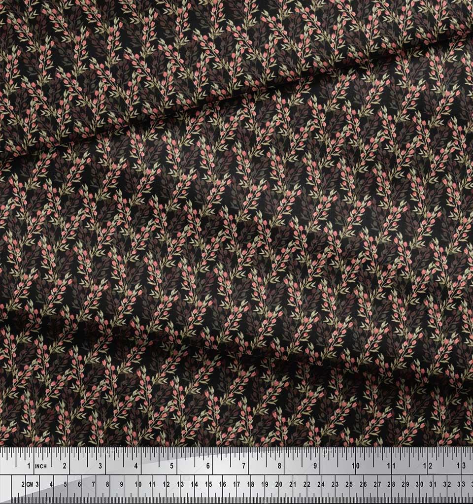 Soimoi-Black-Cotton-Poplin-Fabric-Leaves-amp-Buds-Floral-Decor-Fabric-YzP thumbnail 4