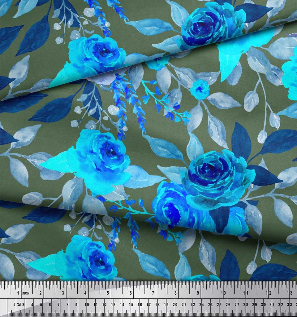 Soimoi-Green-Cotton-Poplin-Fabric-Rose-Floral-Print-Fabric-by-Yard-FSZ thumbnail 3