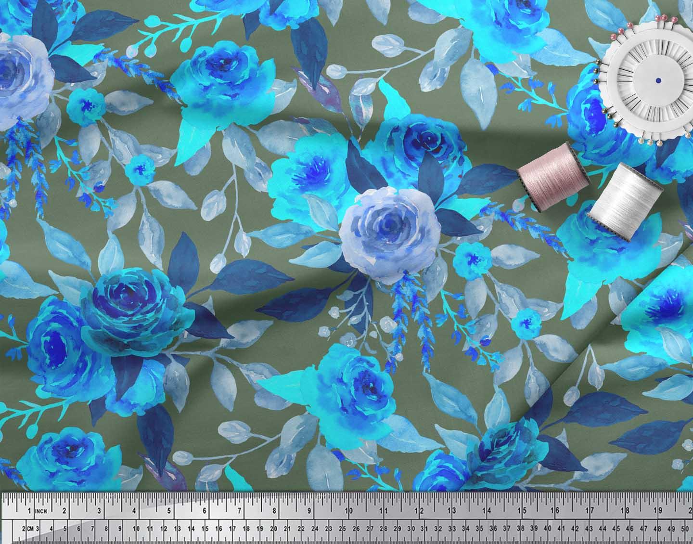 Soimoi-Green-Cotton-Poplin-Fabric-Rose-Floral-Print-Fabric-by-Yard-FSZ thumbnail 4