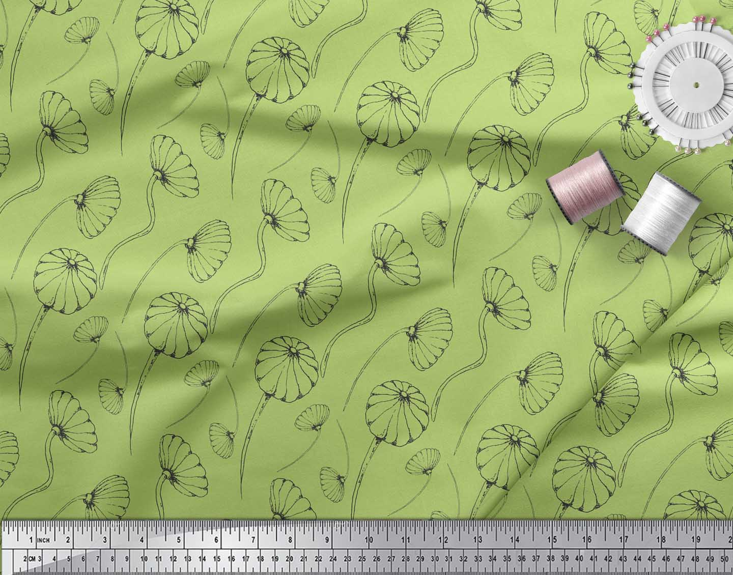 Soimoi-Green-Cotton-Poplin-Fabric-Artistic-Floral-Printed-Fabric-6hz thumbnail 3