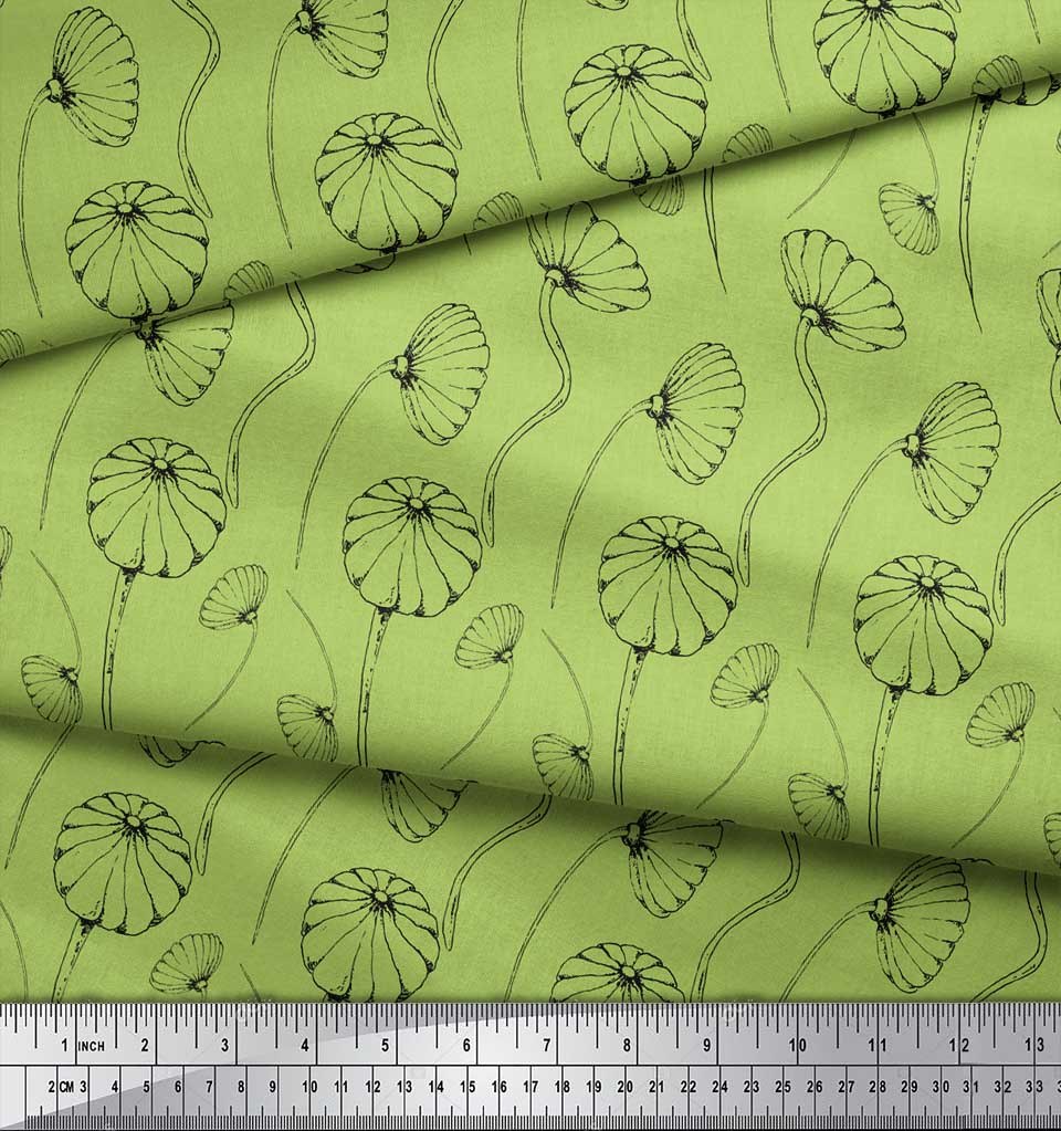 Soimoi-Green-Cotton-Poplin-Fabric-Artistic-Floral-Printed-Fabric-6hz thumbnail 4