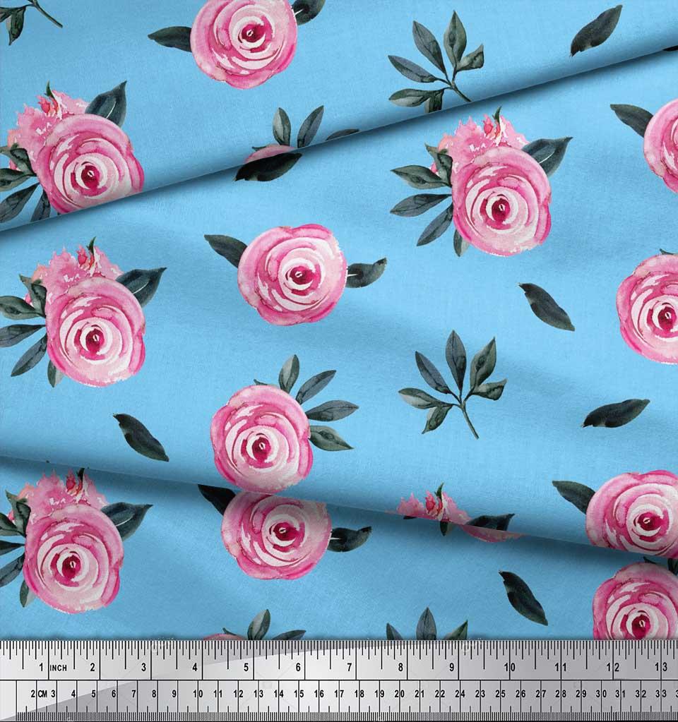 Soimoi-Blue-Cotton-Poplin-Fabric-Leaves-amp-Ranunculus-Floral-Print-8hS thumbnail 3
