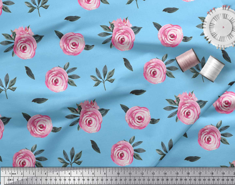 Soimoi-Blue-Cotton-Poplin-Fabric-Leaves-amp-Ranunculus-Floral-Print-8hS thumbnail 4