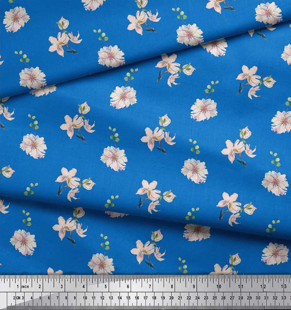 Soimoi-Blue-Cotton-Poplin-Fabric-Leaves-amp-Freesia-Floral-Decor-Fabric-l9y thumbnail 3