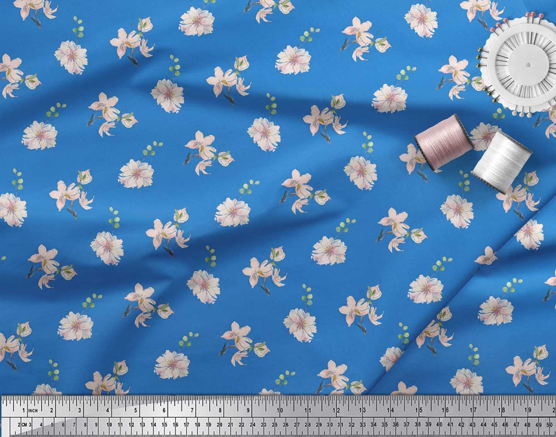 Soimoi-Blue-Cotton-Poplin-Fabric-Leaves-amp-Freesia-Floral-Decor-Fabric-l9y thumbnail 4