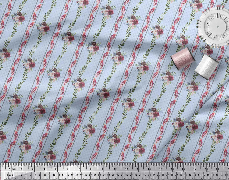 Soimoi-Blue-Cotton-Poplin-Fabric-Leaves-amp-Flower-Floral-Printed-kuE thumbnail 4