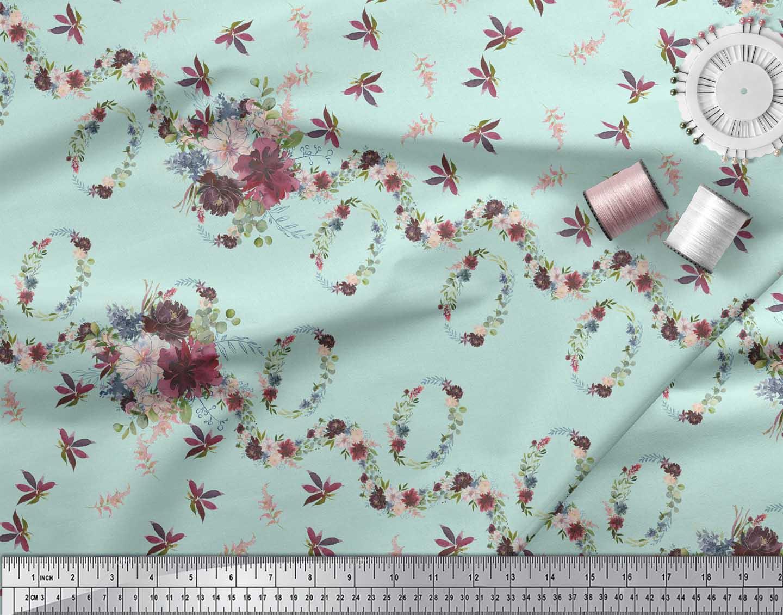 Soimoi-Green-Cotton-Poplin-Fabric-Chevron-amp-Wreath-Floral-Print-KEM thumbnail 3