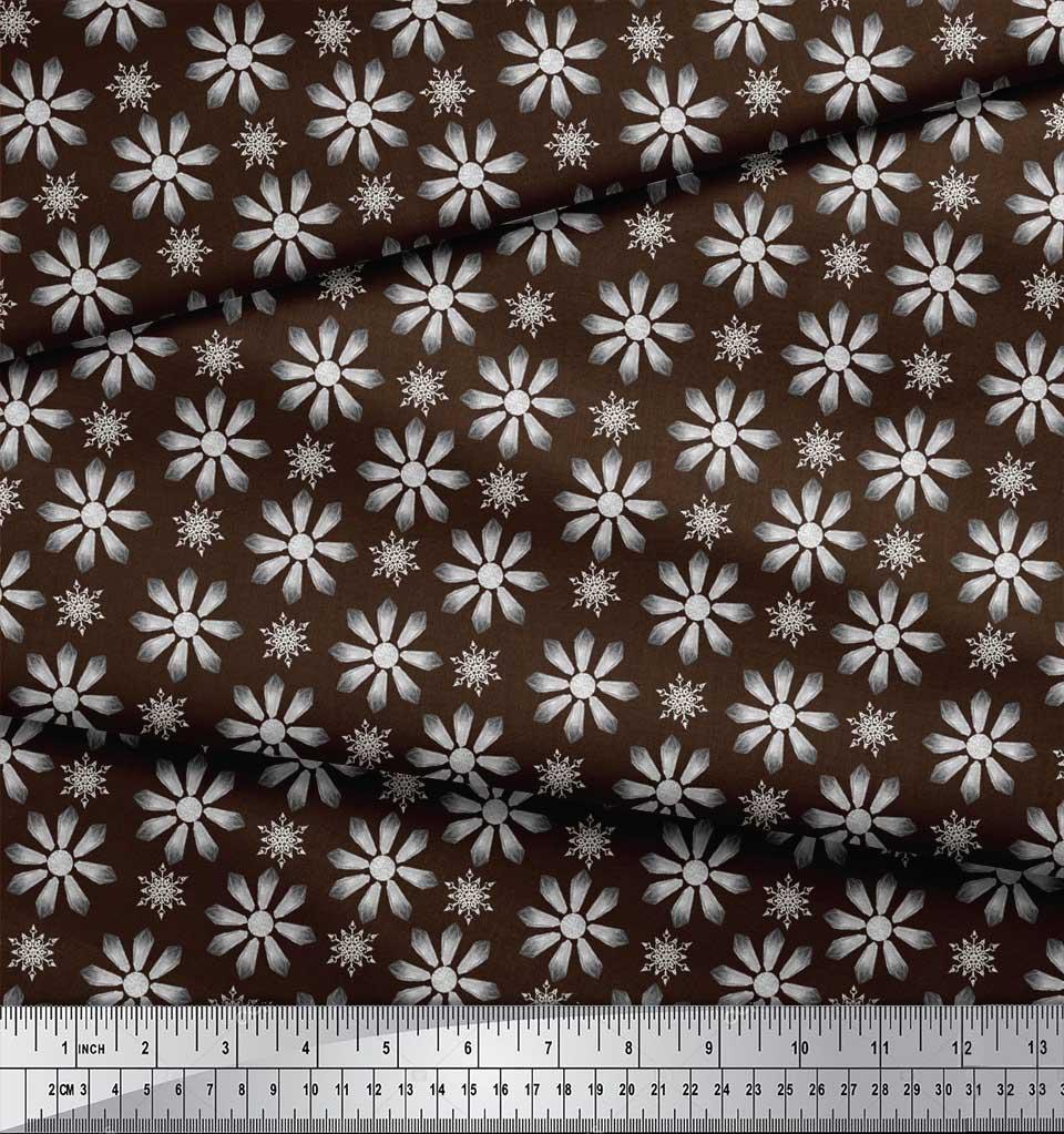 Soimoi-Brown-Cotton-Poplin-Fabric-Crystals-Floral-Fabric-Prints-tPV thumbnail 3